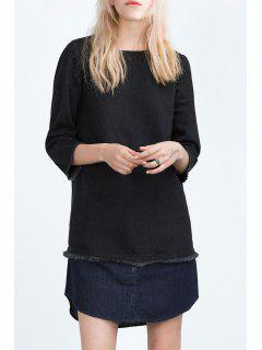 Denim Spliced Round Collar 3/4 Sleeve Dress - Black L