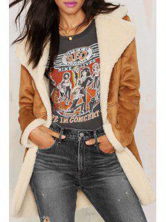 Suede Thicken Lapel Collar Long Sleeve Coat - Maroon S