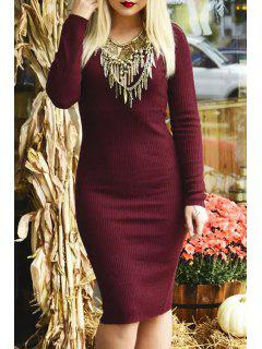 V-Neck Wine Red Sweater Dress - Wine Red S