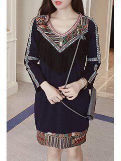 Embroidered Tassels Straight Dress - Deep Blue Xl