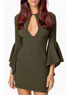 Cut Out Solid Color Bell Sleeve Bodycon Dress - Army Green M