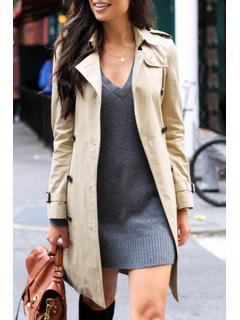 Khaki Turn Down Collar Long Sleeve Trench Coat - Light Khaki M