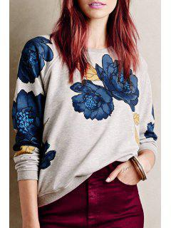 Floral Print Round Collar Long Sleeve Sweatshirt - Light Gray L