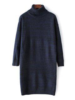 Turtleneck Long Sleeve Mixed Color Sweater - Cadetblue