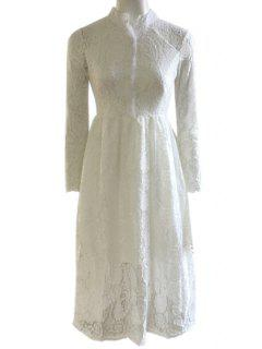 Solid Color Openwork Lace Hook Stand Collar Dress - White