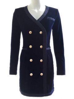 Velvet Double Breasted V-Neck Bodycon Dress - Deep Blue S