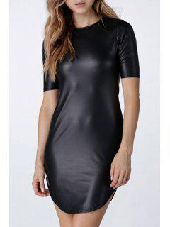 Solid Color PU Leather Short Sleeve Dress - Black 2xl