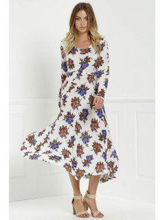 Long Sleeve Floral Print Side Slit Maxi Dress - White Xl