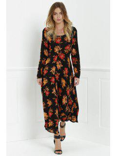 Long Sleeve Floral Print Side Slit Maxi Dress - Black S