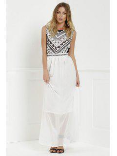 Backless Geometric Print Chiffon Maxi Dress - White S