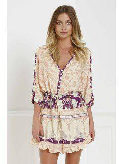 3/4 Sleeve Floral Print Tunic Dress - S