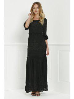 Solid Color Floral Embroidery 3/4 Sleeve Dress - Black M