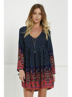 3/4 Sleeve Floral Tunic Dress - Blue Xl