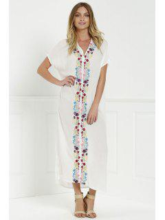 Bohemian Side Slit Embroidered Maxi Dress - White S