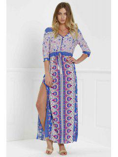 Scoop Neck Tiny Floral Printed 3/4 Sleeve Dress - Purple L