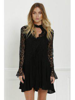 Stylish Lace Splicing Round Neck Openwork Long Sleeve Dress With Sundress Women's Twinset - Black M
