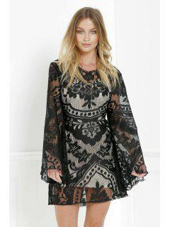 Black Lace Long Sleeve With Cami Dress Twinset - Black S