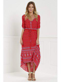Ethnic Print V Neck 3/4 Sleeve Maxi Dress - Red S