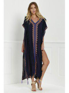 Embroidered High Slit Cape Dress - Cadetblue M
