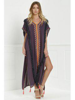 Embroidered High Slit Cape Dress - Gray S