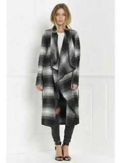 Tartan Stand Collar Long Sleeves Long Coat - Black And Grey S