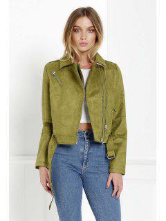 Zippered Green Suede Jacket - Green Xl