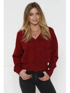 V-Neck Two Pockets Crop Sweater - Claret L