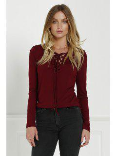 Lace-Up Long Sleeves Plunging Neck Solid Color T-Shirt - Claret S