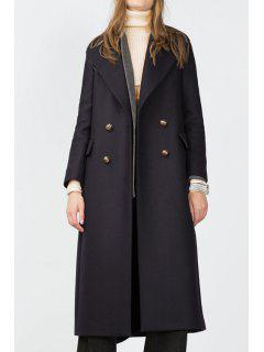 Solid Color Back Slit Turn-Down Collar Peacoat - Cadetblue M