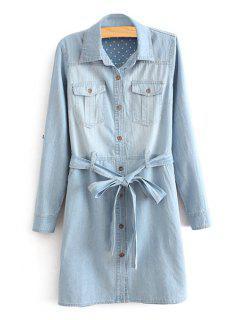 Long Sleeve Self-Tie Belt Denim Dress - Light Blue 2xl