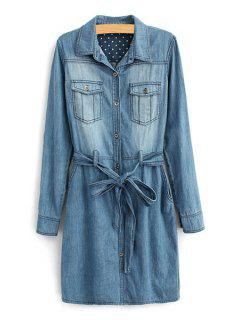 Long Sleeve Self-Tie Belt Denim Dress - Deep Blue 2xl