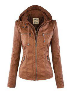 Solid Color PU Leather Convertible Collar Jacket - Light Brown 2xl