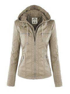Solid Color PU Leather Convertible Collar Jacket - Off-white M