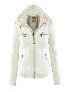 Solid Color PU Leather Convertible Collar Jacket - White L