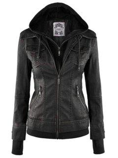 Solid Color PU Leather Hooded Collar Jacket - Black Xl