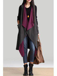 Double-Faced Turn Down Collar Long Waistcoat - Gray