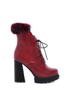 Platform Faux Fur Solid Color High Heel Boots - Red 36
