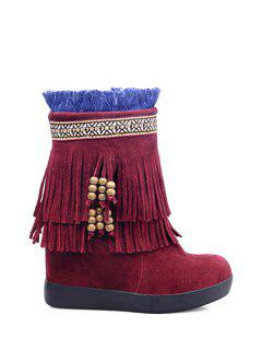 Fringe Suede Increased Internal Snow Boots - Wine Red 39