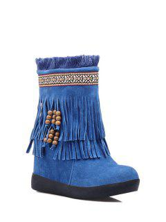Fringe Suede Increased Internal Snow Boots - Blue 37