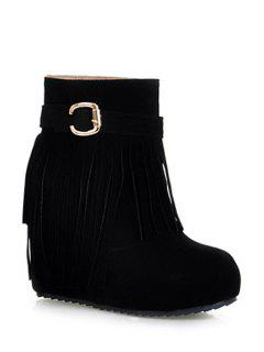 Wedge Heel Buckle Fringe Short Boots - Black 39
