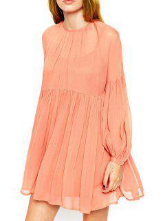 Lantern Sleeve A-Line Chiffon Dress - Jacinth 2xl