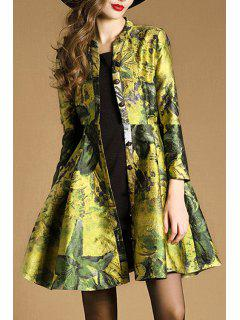 Single-Breasted Colored Trench Coat - Green L