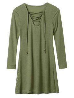 Long Sleeve Lace-Up A-Line Dress - Army Green L