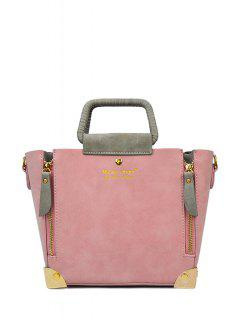 Color Matching Zippers Metal Tote Bag - Pink