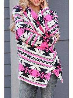 Long Sleeve Geometric Print Cardigan - Rose