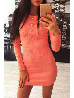 Solid Color Round Collar Button Embellished Dress - Orange M