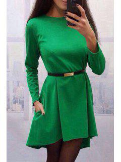 High Low Hem Round Collar Pure Color Dress - Green M