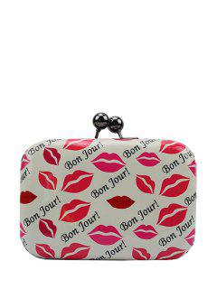 Sexy Lip Print Kiss Lock Evening Bag - White