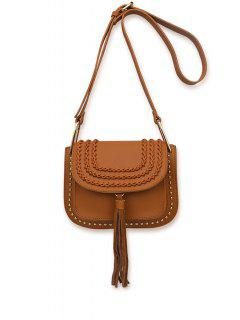 Weaving Tassel Rivet Crossbody Bag - Brown