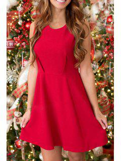 Fit And Flare Red Christmas Dress - Red M